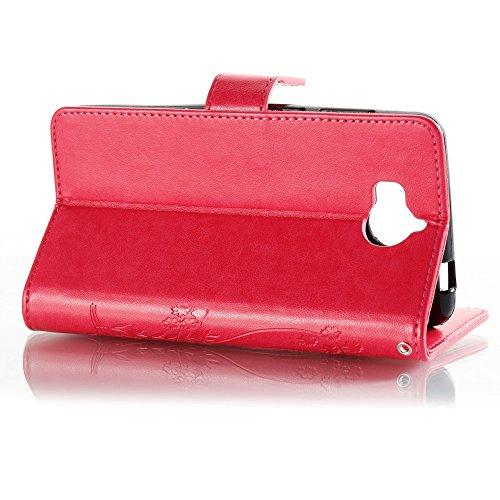 EKINHUI Case Cover Horizontale Folio Flip Stand Muster PU Leder Geldbörse Tasche Tasche mit geprägten Blumen & Lanyard & Card Slots für Huawei Y5 2017 ( Color : Red ) Rose red