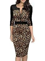 Miusol Women's 3/4 Sleeve Bodycon Leopard Pencil Cocktail Party Dress