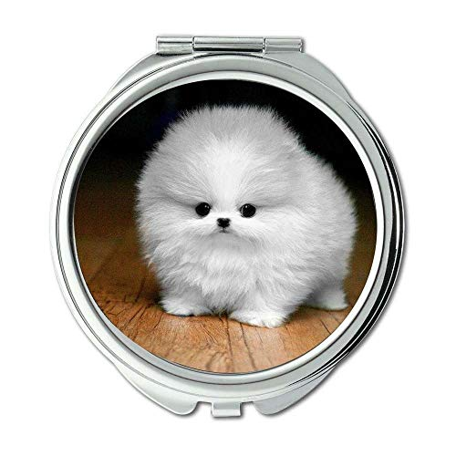 Yanteng Spiegel, Compact Mirror, wurde lustig gefleckter Hund Hund, Taschenspiegel, 1 X 2X Lupe