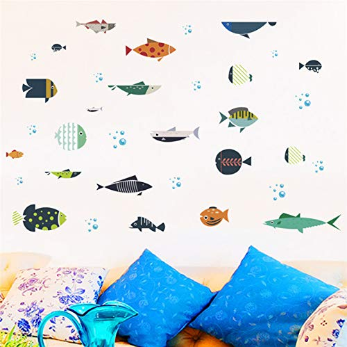 Zyzdsd Unterwasser Fisch Schildkröte Shark Bubble Wandaufkleber Für Kinderzimmer Wandtattoos Badezimmer Dekor Poster