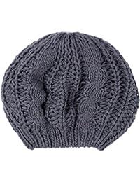 gris de la señora caliente de invierno de punto de punto trenzado boina holgada del ganchillo Beanie Cap sombrero del esquí