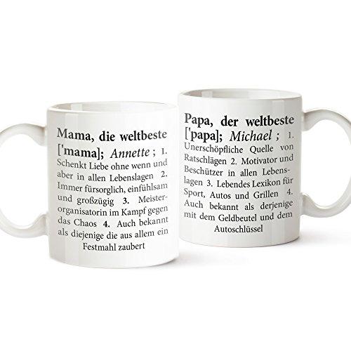 2er Tassen Set - Tasse Definition Mama und Papa - Tasse mit Spruch - Personalisiert mit [Namen] - Tasse Papa ist der Beste - Tasse Mama ist die Beste