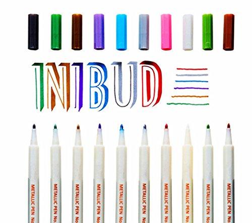 INIBUD Metallic Marker Pens, Satz von 10 Farben für Kartenherstellung DIY Fotoalbum Gebrauch auf irgendeiner Oberfläche-Papier Glas Kunststoff Keramik - 2
