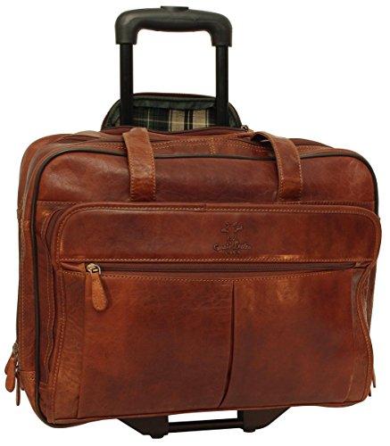 """Sac business à roulettes - Gusti Cuir studio """"Duncan"""" sac ordinateur portable 15"""" sac business vintage sac notebook rétro homme femme cuir de buffle marron foncé 2R21-20-2"""