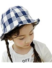 Roffatide Bebé Tartán Sombrero de Pescador Sombrero de Sol Niño Niña Verano  Protector UV Gorro de 69079d936de