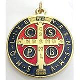 GTBITALY 60.050.21 medaglia di San Benedetto Oro Smaltata Misura 48 mm con Anello prete esorcismo Suora Chiesa sacerdote Sant