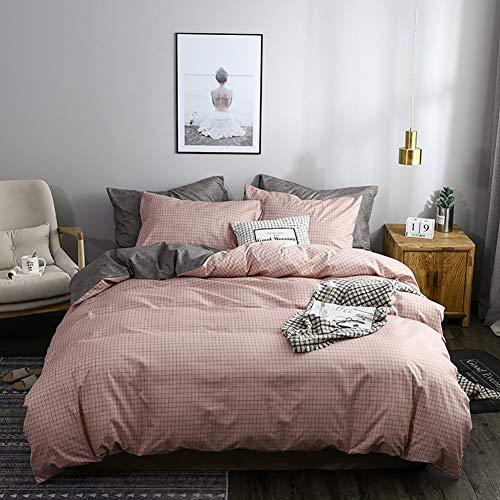 TINE Weiche Bettwäsche Bettbezug Set Polyester Waschbar Quilt Bettdeckenbezug mit Kissenbezug Single Double King Superking Größe für Kinder Jugendliche Erwachsene, Pink Small Plaid Pattern,135x200cm