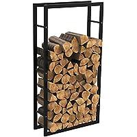 mctech® Metal Fuego Madera Leña estante estantería para leña Chimenea Leña Soporte de madera madera Estantería, 150*80*25cm