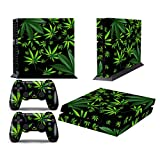 PS4 Console Design Folie Aufkleber Sticker Skin fur Sony PlayStation 4 System plus Two(2) Decals for: PS4 Dualshock Controller - Weeds Black