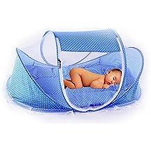 ASIV Barrera de cama nido para bebé, Con Mosquiteras, almohadas, colchones, caja de música y bolsa de malla, 108 x 65 x 52 cm, Azul