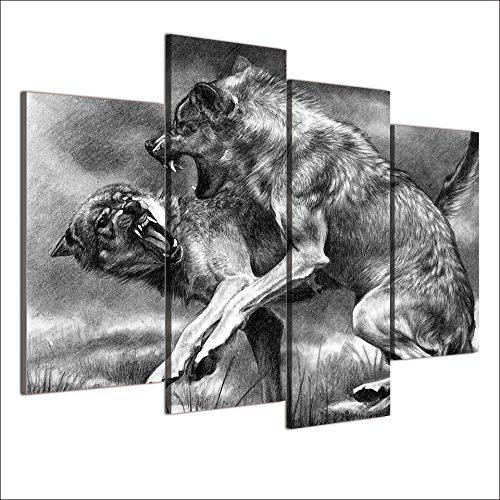 AIPIOR Leinwand Poster Modulare Bilder Drucke Dekoration 4 Panel Tier Wölfe Kampf Biss Wand Für Wohnzimmer Rahmen Malerei -
