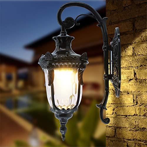Haupteingang (ZGYQGOO LED Wandleuchten Wandleuchte Leuchte wasserdichte Außenwandleuchten Balkon Hof Gartenlampe Retro Außenkorridor Licht Die Straße vor dem Haupteingang der Wandleuchten, klein)