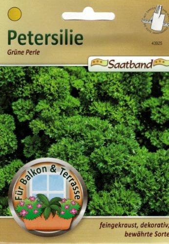Petersilie grüne Perle Saatband für Balkon & Terrasse feingekraust dekorativ bewährte Sorte Schnittpetersilie 43925 (Perlen Paprika)