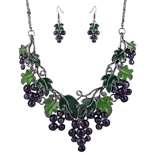 fruit-grapes-pendant-bib-chain-necklace-choker-women-dangle-earring-jewelry-set