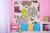 selbstklebende Fototapete - Kinderbild - Vogel mit Blumen - 100x100 cm - Tapete mit Kleber – Wandtapete – Poster – Dekoration – Wandbild – Wandposter – Wand – Fotofolie – Bild – Wandbilder - Wanddeko
