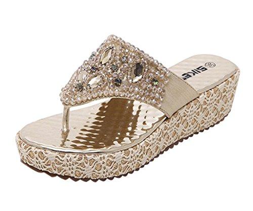 andalen Faux Strass Perlen Flip Flops Sommer Pantoffeln Mit Keilabsatz Gold 40 ()