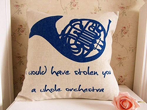 apnzll 45 x 45CM How I Met Your Mother Blue French Horn Linen Cushion Cover Pillowcase