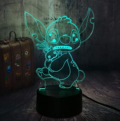Z Lamp Neue 4 Design Cute Stitch Alien Dog Cartoon 3d Led Lacht 7 Color Baby Sleep Desk Lamp Home Decor Holiday Kid Christmas Gift Touch One 7 Color Niedliche Stitch -