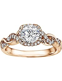 Silvernshine Solitaire With Accent Bridal Halo Engagement Wedding Ring In 14k Rose Gold Plated