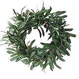 Hutiee Deko Kranz Künstliche Olivenkranz Natürlichen Reben Tür-Girlande 45cm, für Türdekor, Party, Hochzeit und Jedes Große Fest