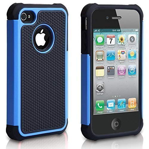 l, iPhone 4s Fall, Mode stoßfest Langlebig Hybrid Dual Layer Rüstung Defender Schutzhülle für Apple iPhone 4S/4-Blau ()