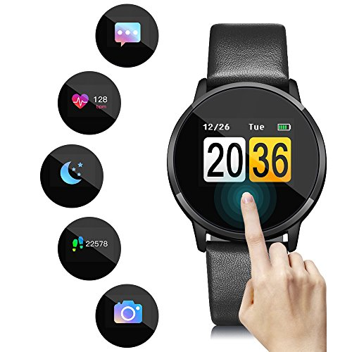 Oukitel Smartwatch,Wasserdichte OLED Touchscreen Bluetooth Smartwatch,Apps,Kamera Remote/Schrittzähler/Schlaf/Blutdruck Trinkwasser/Erinnerung Botschaft und Anruf,für Android IOS-Schwarz