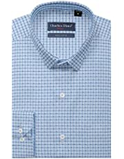 Mens 100% Giza Cotton Slim FIT Blue Checkered Shirt for Formal WEAR for Men