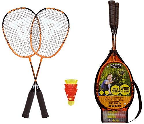 Talbot-Torro Speed-Badminton Set Speed 2200, 2 leichte Rackets, 2 windstabile Bälle, im 3/4 Bag, schön handlich auch für Kids, schwarz-orange, 490112