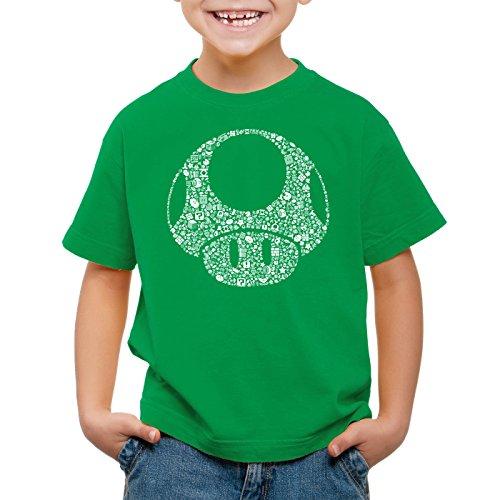 Mario Brothers T-shirt (A.N.T. Super Toad Play Kinder T-Shirt Mario Pilz Game Gamer, Farbe:Grün;Größe:152)