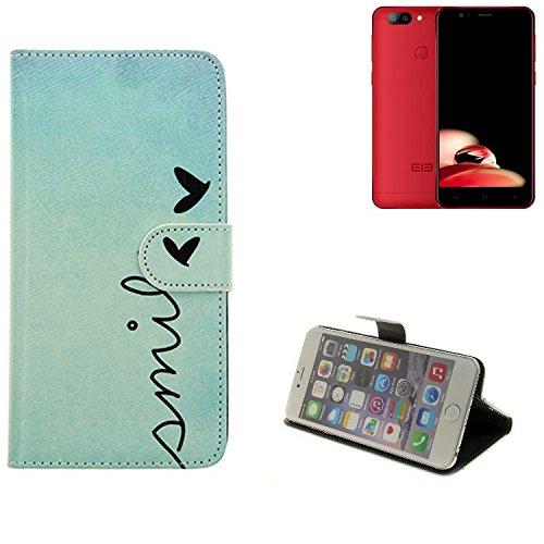 K-S-Trade Elephone P8 Mini Hülle Wallet Case Schutzhülle Flip Cover Tasche bookstyle Etui Handyhülle ''Smile'' türkis Standfunktion Kameraschutz (1Stk)