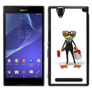 GIFT CHOICE / Schlank Hart Schutzhülle Tasche Hülle HandyHülle Slim Hard Protective Case SmartPhone Cover for Sony Xperia T2 Ultra // Weiß Glasses Frog Smart-Job //