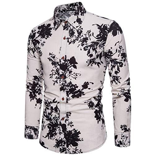 Notdark Herren Hemd Baumwolle Langarm Slim-Fit Hemden für Freizeit Business Arbeit Blumendruck Printed Shirt(4XL,Schwarz) -