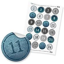 AdventskalenderZahlen Zahlensticker 1-24 - 4cm blau hellblau grau silber weiß Hochglanz