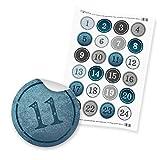itenga AdventskalenderZahlen Zahlensticker 1-24 - 4cm blau hellblau grau Silber weiß Hochglanz