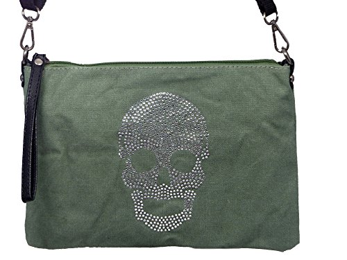 Umhängetasche Canvas Style - Totenkopf aus Strasssteinen - Maße 28 x 20 cm - Damen Mädchen Teenager Tasche mit verstellbaren Schulterriemen - neue Farben Hellgrün