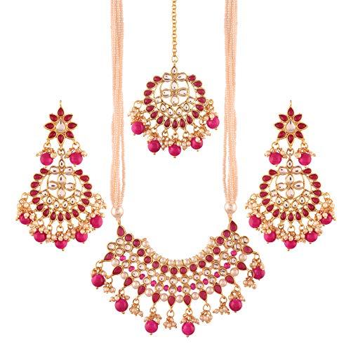I J ewels K7065Q Halsketten-Set mit Ohrringen und Maang Tikka für Damen (Halskette-ohrring-combo)