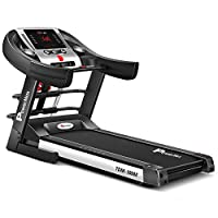 Powermax Fitness TDM-100M (4 HP Peak) Motorized Treadmill for Home Use - Free Installation Service - 3 Years Motor Warranty - with Semi-Auto Lubrication, Multi-function (massager and sit-up bar)