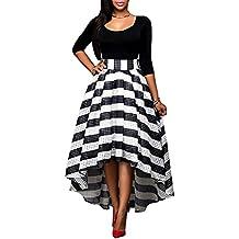 Mujer Maxi Vestido Elegante de 3/4 Mangas Cuello Redondo Largo Falda de Fiesta Cóctel