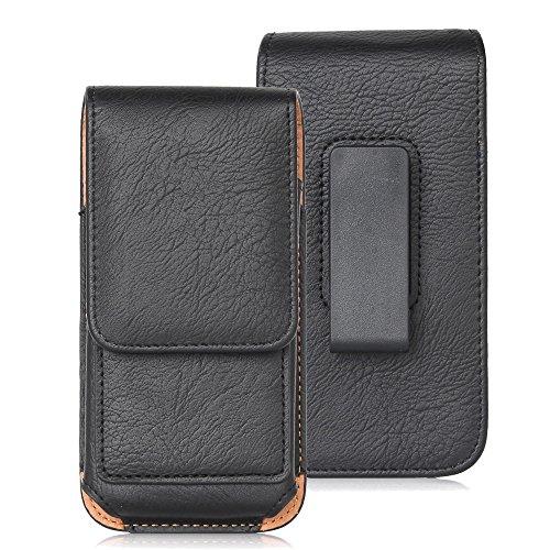 DAYNEW für 5.5 Zoll Universal-PU-Leder Hüfttasche Handytasche Tasche Smartphone iPhone X /7 Plus/8 PLUS/6S Plus/6 Plus-Schwarz