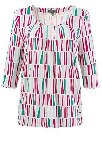 Ulla Popken Damen große Größen | Slinkyshirt | Basic | grafisches Design | 3/4-Ärmel | bis Größe 58+ | 711986 Pink