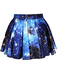 Ninimour New Womens Ladies Belted Skater Flared Jersey Animal Plain Mini Party Dress Skirt