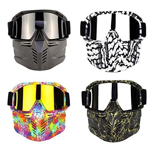 Motorrad Goggle Motocross mit Masken Motorrad Sonnenbrille Motorrad Schutzbrille Staubschutz Brille abnehmbar Gesichtsmaske Winddicht für Skifahren Radfahren Snowboard Wandern Augenschutz