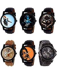 NEUTRON New 3D Design Mahadev Damru Hanuman Black Blue And Brown Color 6 Watch Combo (B22-B23-B24-B25-B26-B70)...