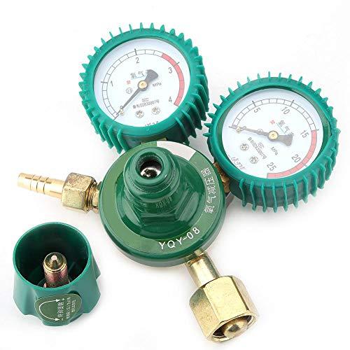Sauerstoffregler, Walfront YQY-08 Körper aus Zinklegierung Sauerstoff-Druckminderer Sauerstoff-Druckminderventil-Messgerät mit Doppelanzeige