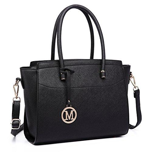 Miss Lulu Damen Klassische Handtasche Winged Schultertasche Groß Umhängetasche Taschen (6627 Schwarz) (Tasche Faux-leder-handtasche Geldbörse)