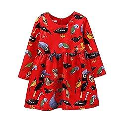 For 1-12 Years old Girls,Clode® Cute Fashion Kids Toddler Girl Long Sleeve Animal Print Princess Dress Christmas Long Sleeve Swing Party Dress
