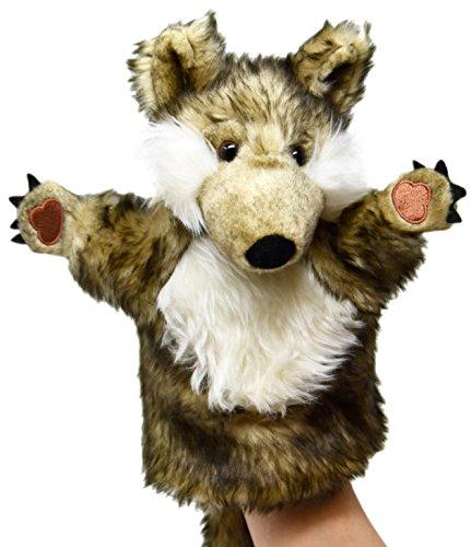 Lashuma Plüsch - Handpuppe Wolf | Plüschtier Handspielpuppe | Tierpuppe ca. 25 cm