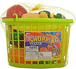 FunBlast Fruits & Vegetables Shopping Basket Toys for Kids, Pretend Grocery Play Food Set for Kids - 24 Pieces