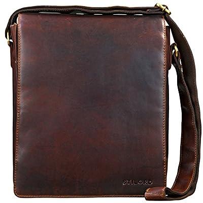 STILORD 'Lars' Vintage Sac Besace pour Hommes Sac en bandoulière pour MacBook 13.3 pouces et Documents DIN A4 Messenger Sac d'épaule Cuir cognac - marron
