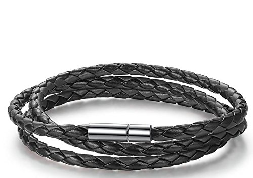 Imperium & Co Men's Genuine Leather Braided Bracelet w/ Stainless Steel Clasp